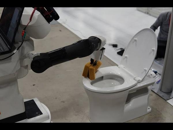 [World Robot Summit 2018] Robot cleans toilet autonomously