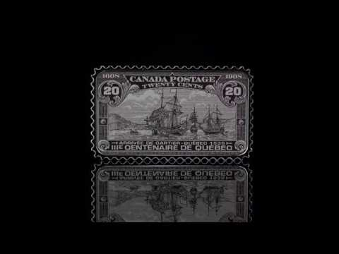 1 oz. Pure Silver Coloured Coin - Canada's Historical Stamps: Arrival of Cartier, Quebec 1535