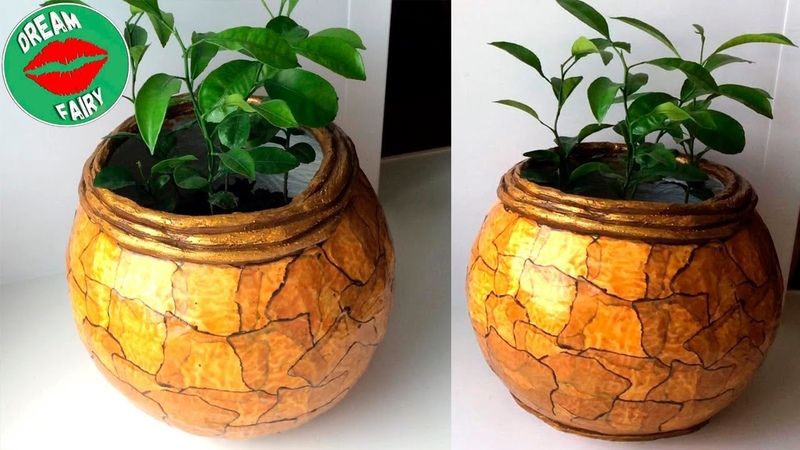 How to make a cement pot at home / Marble Imitation