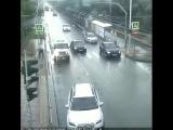 Вчера возле КубГУ.  Видимо пешеход так спешил, что не заметил красный светофор. Ну полиция тут как тут, как по заказу.