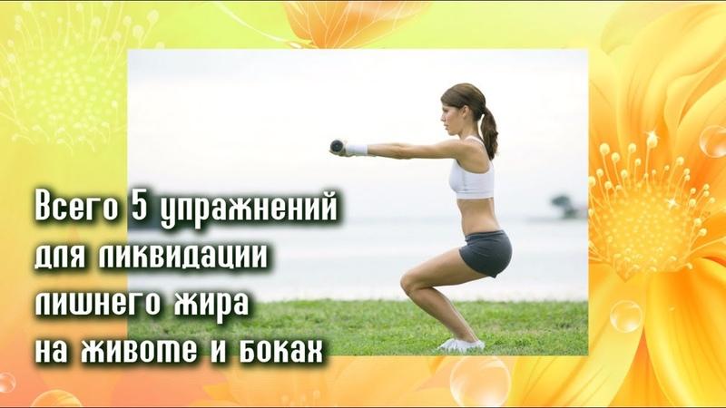 Всего 5 упражнений ИЗБАВЯТ ОТ ЛИШНЕГО ЖИРА НА ЖИВОТЕ И БОКАХ! Просто и действенно