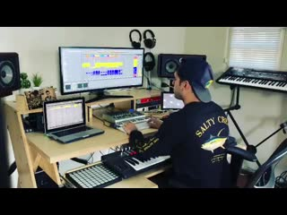 John Grand working in the studio