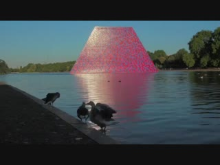 London Mastaba installation on the Serpentine lake