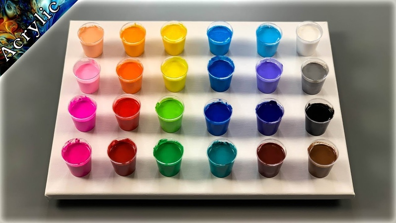 24 Colours Acrylic Flip Cup - Amazing Abstract Painting