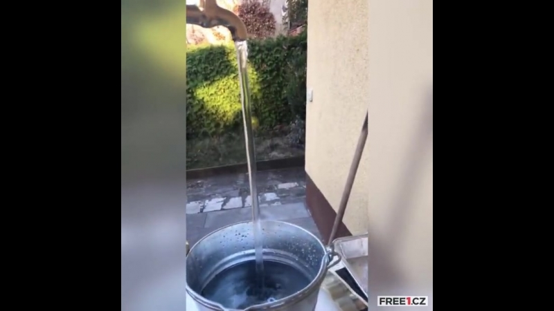 A trick or a miracle A leaking tap from which water flows