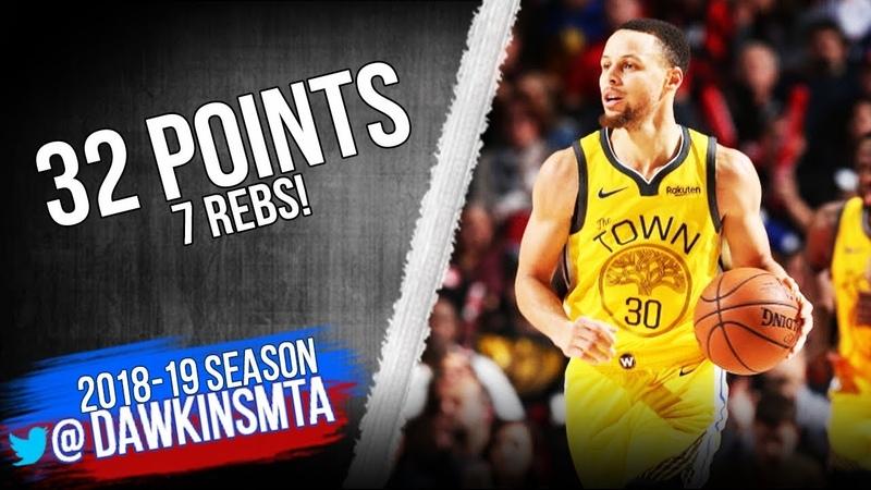 Stephen Curry Full Highlights 2019.02.13 Warriors vs Blazers - 32 Pts!| FreeDawkins