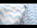 Польский хлопок Сатиновое плетение Голубые зиг-заги