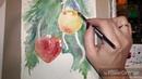 Урок живописи акварелью.Ёлочные игрушки.Тема - рефлексы.