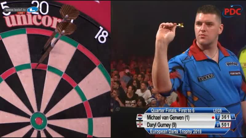 2018 European Darts Trophy Quarter Final van Gerwen vs Gurney
