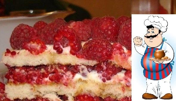 ДОМАШНИЙ ТОРТ МАЛИНОВОЕ СЧАСТЬЕ ИНГРЕДИЕНТЫ: яйца куриные - 4 шт. сахар (150 г - для теста, 150 г - для крема) - 300 г мука - 150 г творог (мягкий) - 300 г йогурт (со вкусом малины или