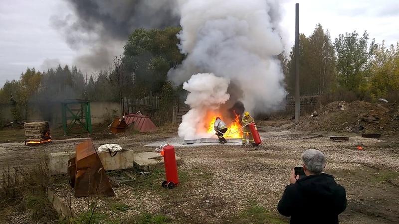 Испытание порошкового огнетушителя ОП 70