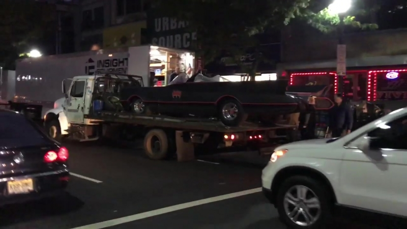 QUICK GLIMPSE OF CURRENT BATMOBILE BEING USED IN FILMING OF NEW JOKER MOVIE IN N