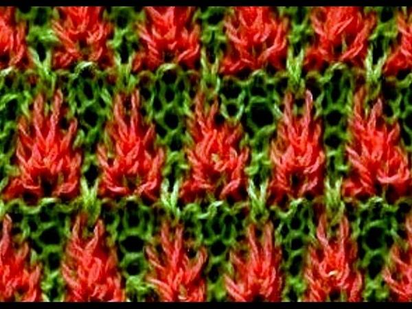 Como Tejer FLORES DE FUEGO (22) - Fire Flowers - 2 agujas (268)