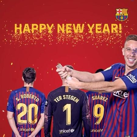 "FC Barcelona B on Instagram: ""🎉 🥂 🎆 🍾 Happy New Year! Feliç Any Nou! ¡Feliz Año Nuevo! Selamat tahun baru! 明けましておめでとうございます! سنة سعيدة، كل عا..."