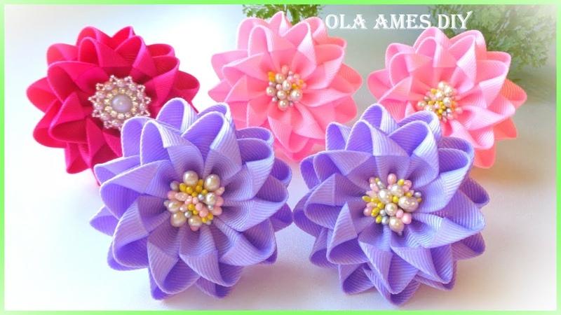 Канзаши Цветы из репсовой ленты DIY Grosgrain Ribbon Flowers Flor de Fita de Gorgurão Ola ameS DIY