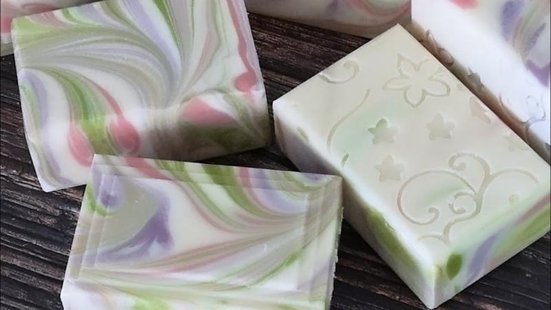 109 手工皂粉綠紫大盤流渲 Handmade Soap Free Flow Swirl Technique Pink Green Purple Tutorial
