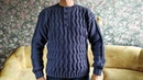 Мужской пуловер с застёжкой Поло спицами МК