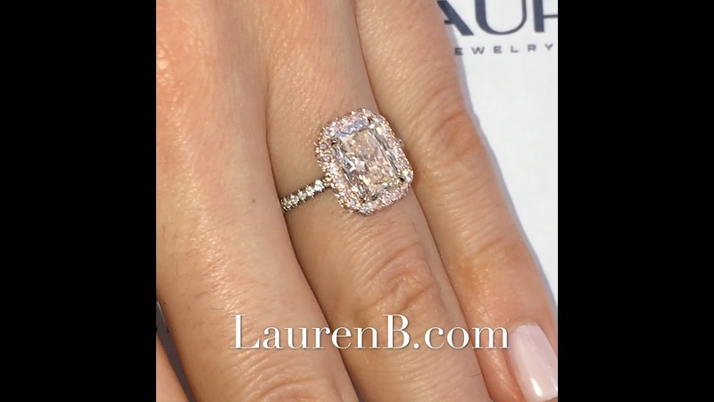 2 ct Radiant Cut Diamond Pink Diamond Halo Ring