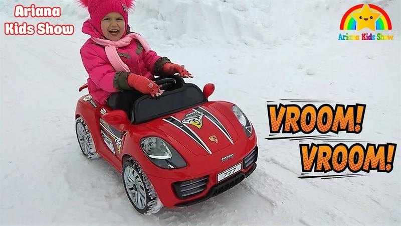 Детская машина катаемся зимой Дети покатались застряли машинка Children's machine skating in winter