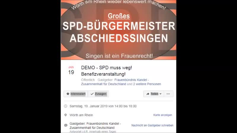 DEMO - SPD muss weg! Benefizveranstaltung.Samstag, 19. Januar 2019 von 14.00 bis 18.00.Wörth am Rhein.