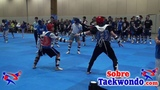 High performance Taekwondo sparring with electronic gear.