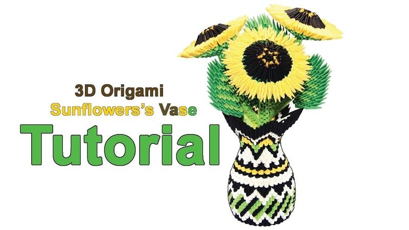 Origami 3d Sunflowerss Vase Tutorial 132 Origami 3d Vaso di girasoli Tutorial
