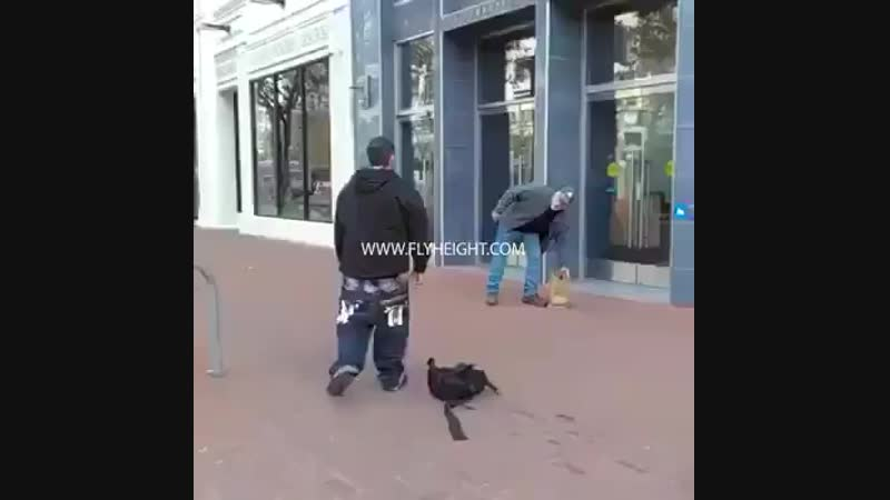 Old man vs fake thug
