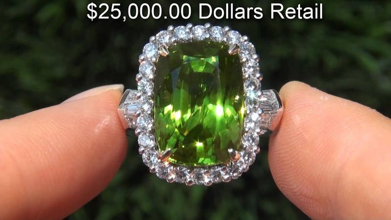 Natural Peridot Diamond Ring