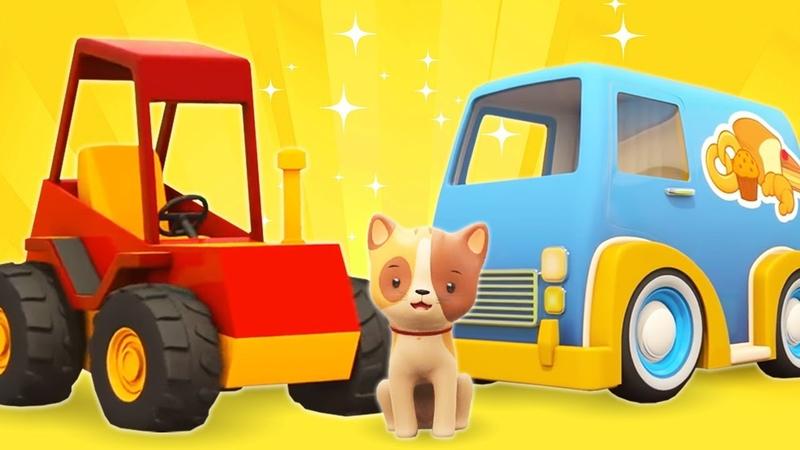 Aprendemos palabras con vehículos de servicio. Dibujos animados para niños.