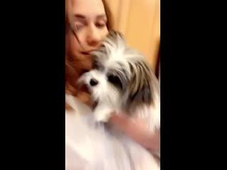 Mia Malkova и её собачка