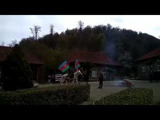 Azərbaycanın üçrəngli bayrağı ilə cövlan edən Qarabağ atı