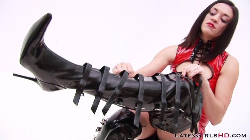 LatexGirls( Miss Hunter Dressing in PVC Thigh High Boots)