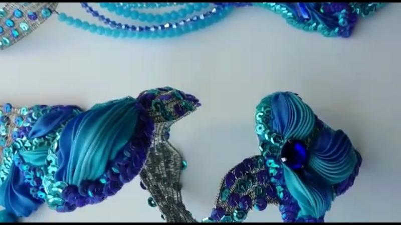 Конкурсная работа Комплект Фантазийные цветы дельфиниума.