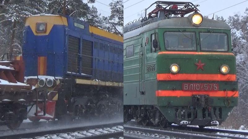 Сюрприз на Рязанком ходу! Электровоз ВЛ10-575 с тепловозом ТЭМ2-7447 с грузовым поездом