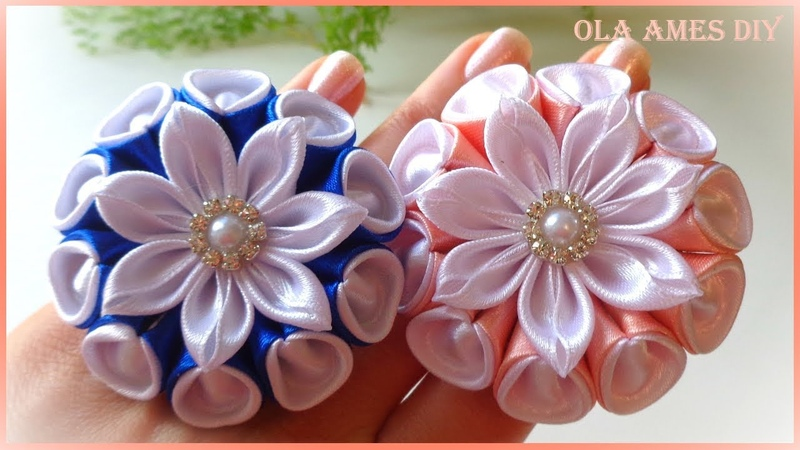 Цветы из лент/Зефирки Канзаши/Ribbon Flower Tutorial/Kanzashi Flowers/Flores de fitas/Ola ameS DIY