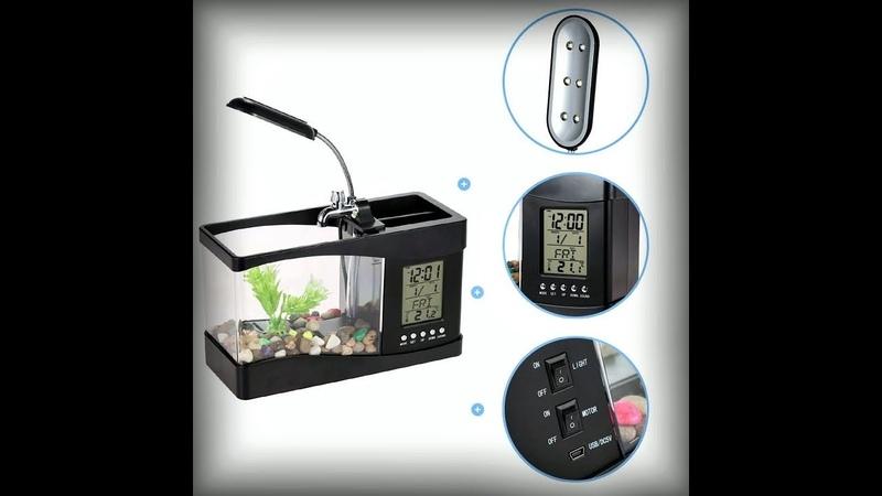 Черный электронный USB мини аквариум Настольный мини аквариум с органайзером для офиса ребенка