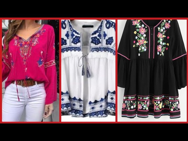 Top stylish embroidered blouse and short shirts styles for women's
