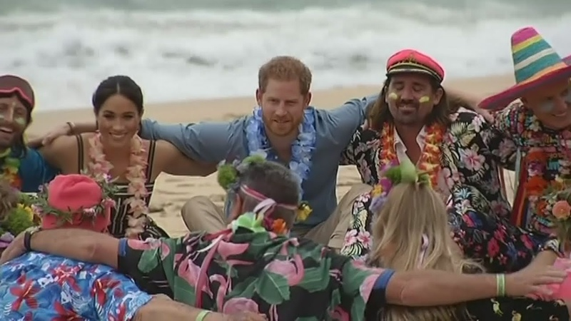 Prince Harry and Meghan join surfing group at Bondi Beach