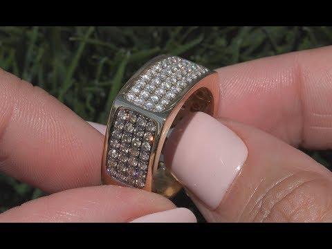 Certified Men's 1.78 tcw Natural White Cognac Gentlemen's Diamond 14k Yellow Gold Ring - C1027