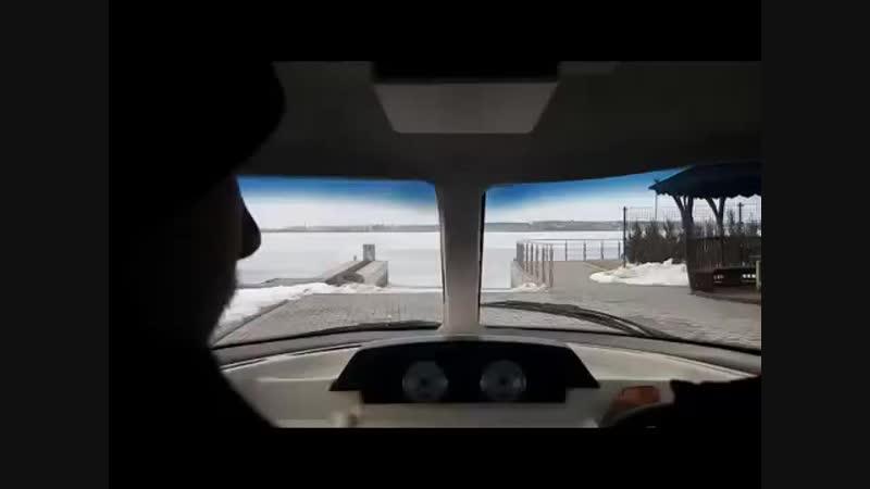 Crossing lake on hovercraft