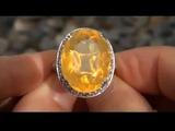 Rare &amp Exotic UNHEATED Brazilian Fire Opal &amp Diamond Estate Ring - Certified Jewelry Auction