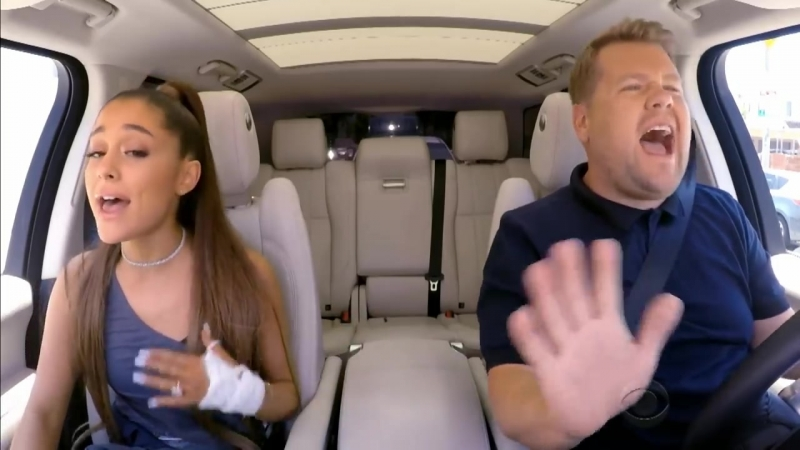 Ariana Grande Mimics Celine Dion, Gets James Corden Piggyback on 'Carpool Karaoke'