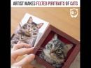 Художник делает портреты кошек из войлока