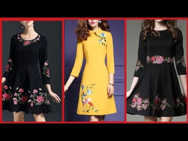 Latest embroidered midi dresses collection for womenshort frocks dresses