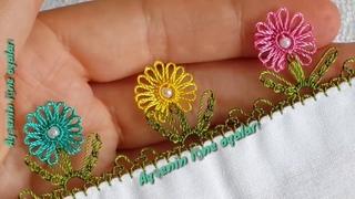 300.model flower muhteşem bir incili iğne oyası modeli anlatımlı yapılışı