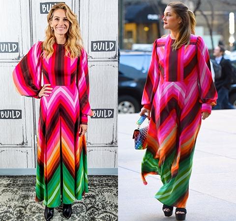 Пестрое платье от Valentino первой примерила Джулия Робертс  в нем актриса появилась на одной из телепередач, ну а Дрю Бэрриморвыбрала яркий образ для прогулки по весеннему Нью-Йорку.