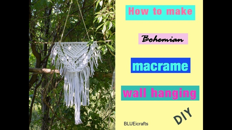 How to make bohemian macrame wall hanging - DIY tutorial - EN PL