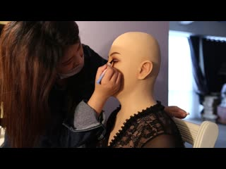 Soft silicone realistic female head mask with breast form makeup video 1