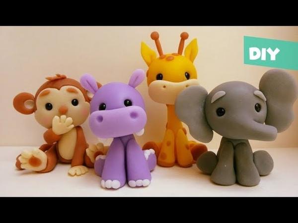 Safari Tutorial Fácil Jirafa° Mono ° Hipopótamo ° Elefante Porcelana fría Plastilina