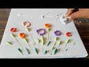 Easy Floral Abstract Painting Just using cotton cloth No Brush used Demo Daily Art Therapy Day 018